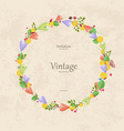vintage wreath with sweet crocus for your design vector image