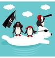 penguins pirates swim on polar bear vector image