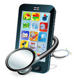 cell phone health check concept vector image
