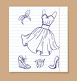 dress and shoes sketch vector image