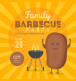 family bbq party invitation template cute steak vector image