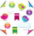 Colorful Birds Set With Ribbon And Speech Bubble vector image