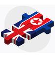 United Kingdom and Korea-North Flags vector image