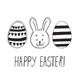 easter greeting with eggs and bunny face vector image