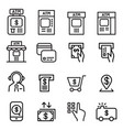 atm icon set in thin line style vector image