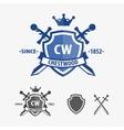 Retro sword badges and shields logo design vector image
