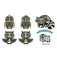 Set with sugar skull penguins owls and raccoon vector image
