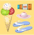 summer time beach sea shore realistic accessory vector image