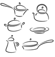 with collection of ware isolated on white vector image
