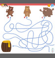 maze game with bear characters vector image