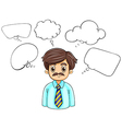 A businessman surrounded with empty callouts vector image vector image