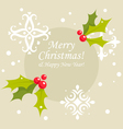 Christmas holly berry card vector image