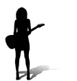 Sexy woman with an electric guitar vector image vector image