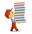 cartoon delivery man carries the book vector image
