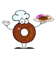 Friendly Donut Chef Cartoon Character vector image