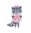 Girl Raccoon With Candy vector image