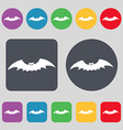 bat icon sign A set of 12 colored buttons Flat vector image