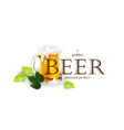 beer emblem logo label design with mug and hops vector image