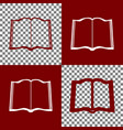 book sign bordo and white icons and line vector image