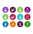 Chemistry flask circle icons on white background vector image