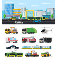 colorful city transport collection vector image
