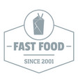 fast food logo simple gray style vector image