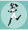 Girl athlete to jog music smartphone vector image