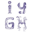 hand-drawn letters H I G Y vector image