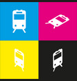 train sign white icon with isometric vector image