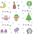 Many ornament set christmas in doodle vector image