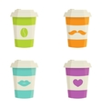 Paper coffee cups set on a white background vector image vector image