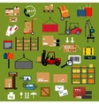 Storage delivery and logistics flat icons vector image