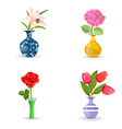 collection of modern vases with beautiful flowers vector image vector image