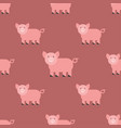 cute pig cartoon animal seamless pattern farm vector image