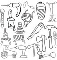 drawn working tools vector image