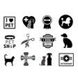set of veterinary concept icons vector image