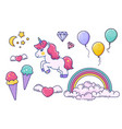 unicorn and fairy elements isolated on white vector image