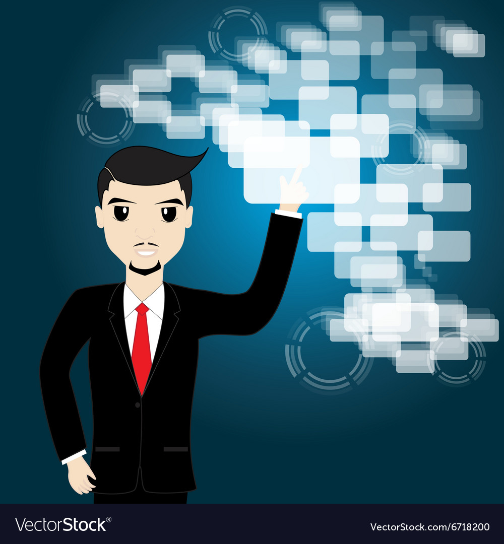 Businessman touching screen vector