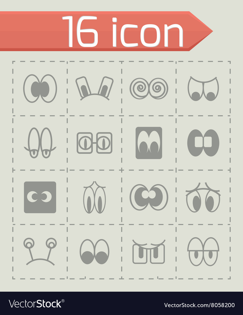 Cartoon eyes icon set vector