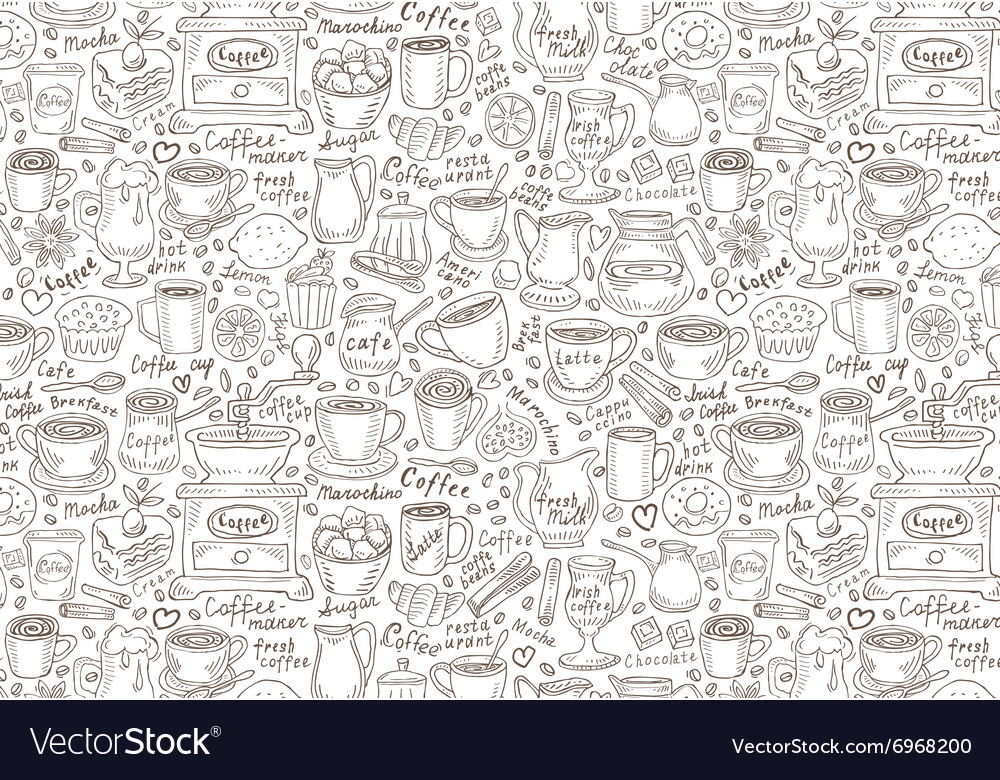 Hand drawn doodle set coffee vector