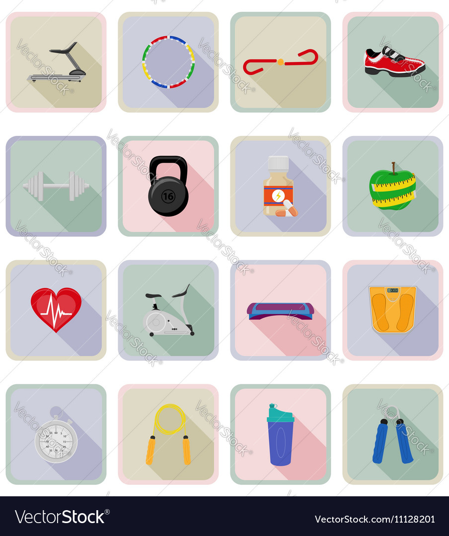 Fitness flat icons 20 vector