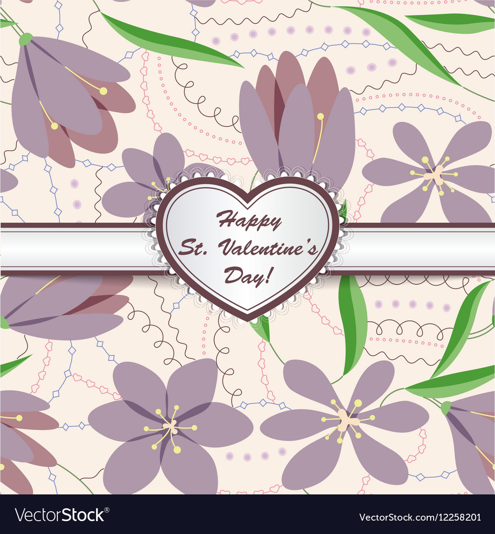 Happy st valentines day card with heart on ribbon vector