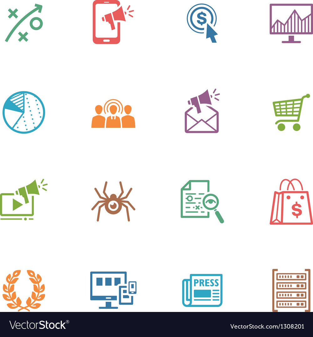 Seo and internet marketing colored icons  set 3 vector