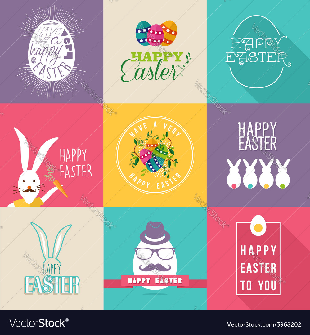 Happy easter flat design labels set vector