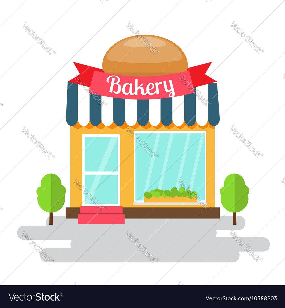 Bakery shop of flat style building vector