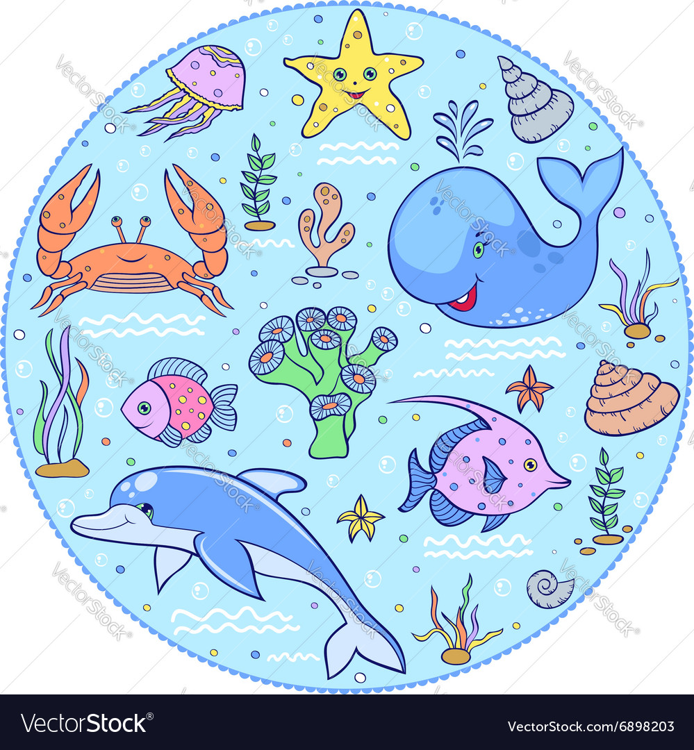 Colorful underwater world vector