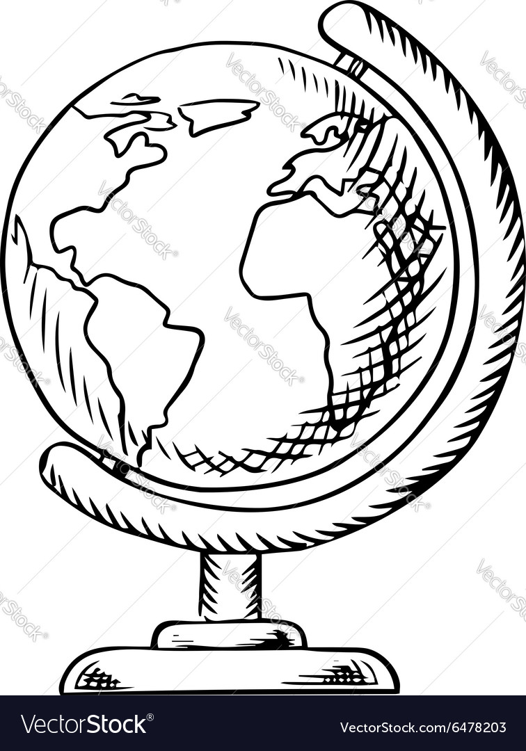 Modern globe with desktop stand sketch vector