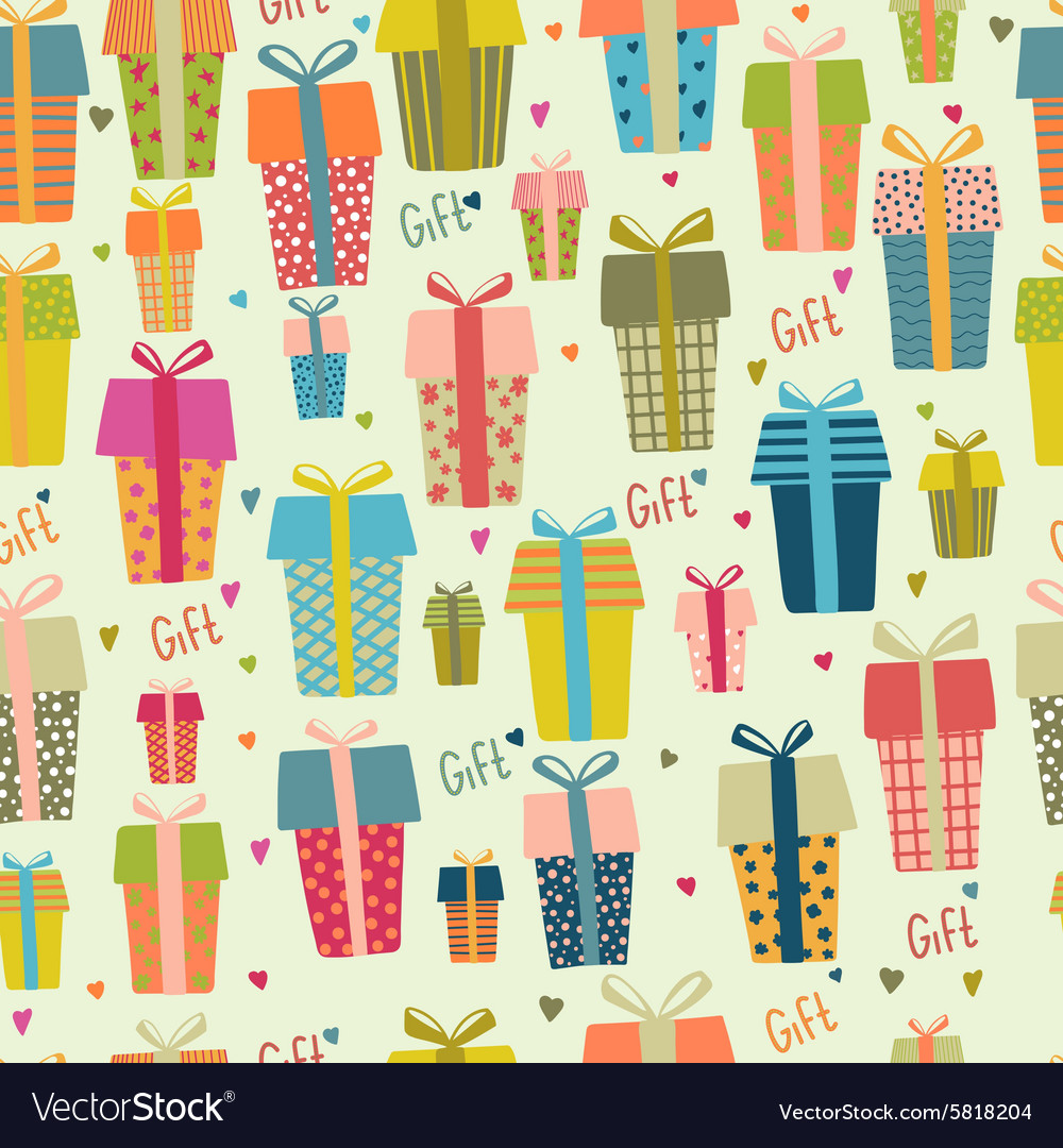 Bright seamless gift boxes pattern various gifts vector