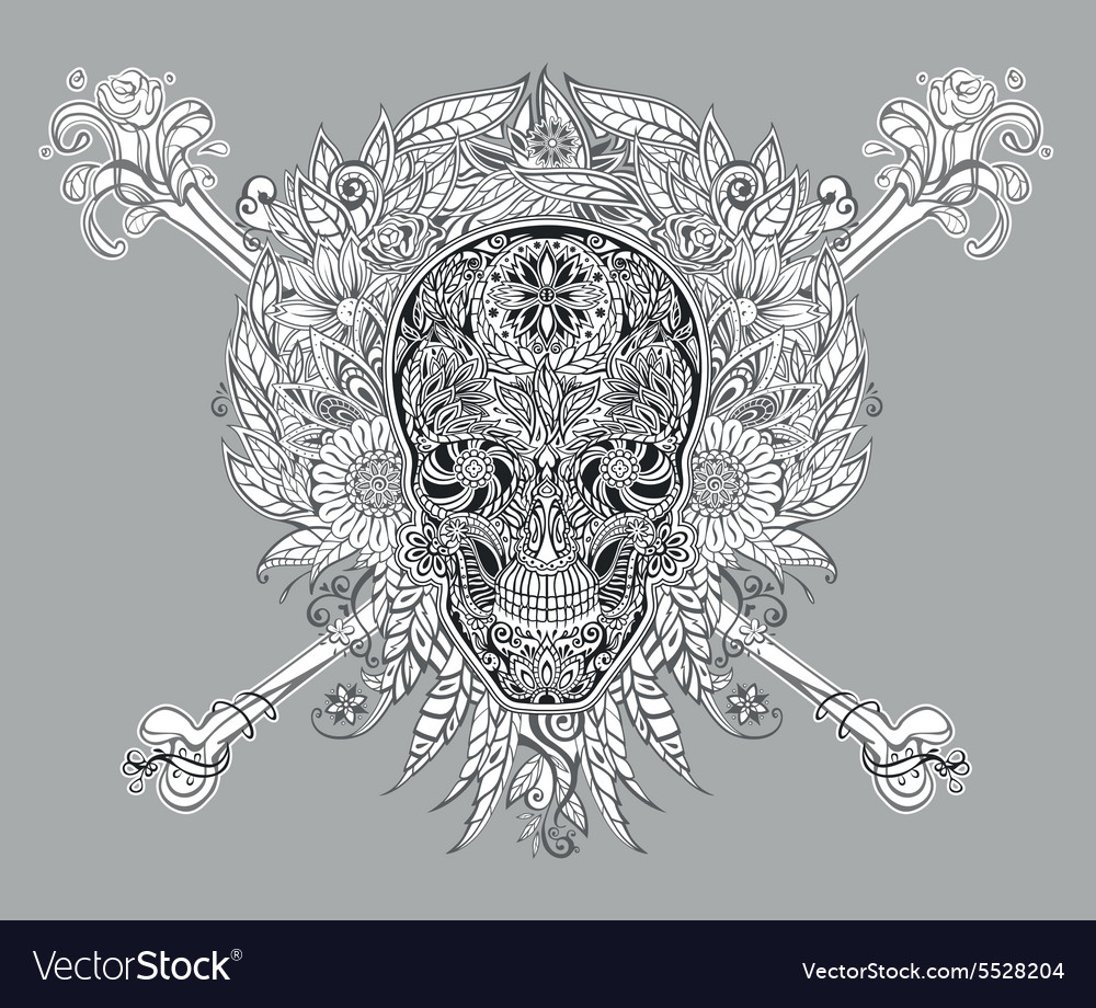 Human skull made of flowers vector