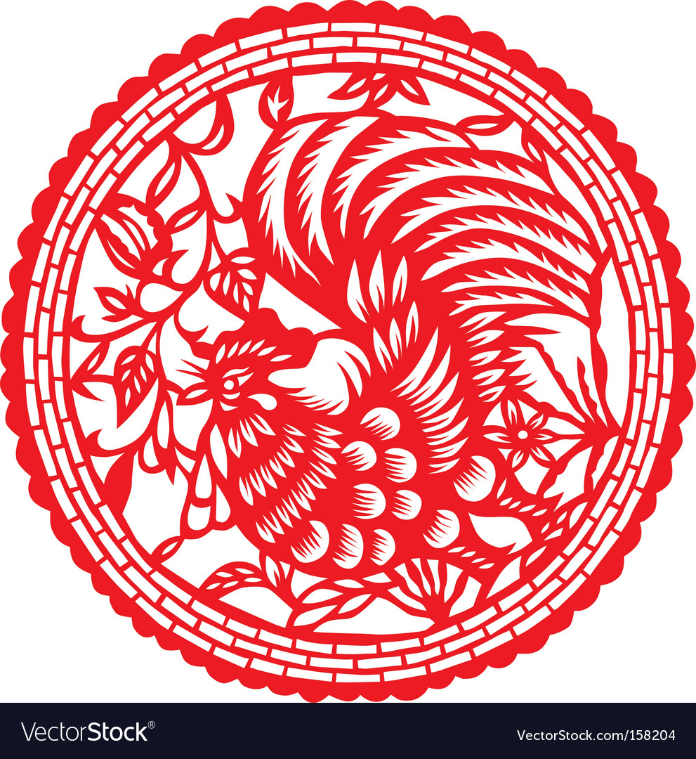 Paper cut rooster vector